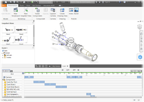 Exploded Presentation Views in Autodesk Inventor 2017