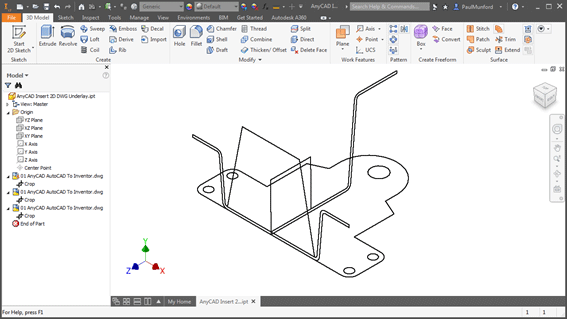 An AutoCAD LT DWG File Used to Create a 3D Model in Inventor LT