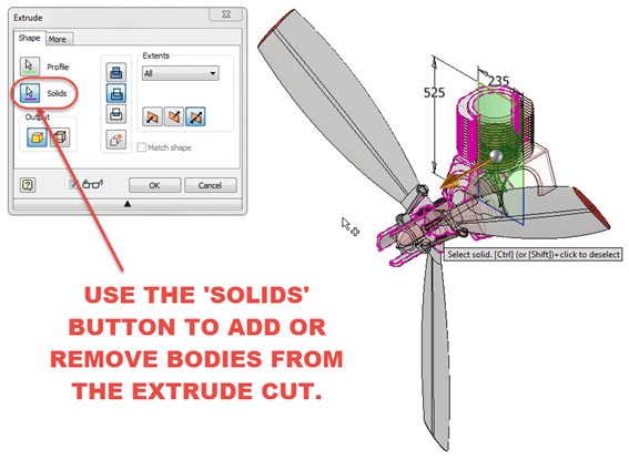 Autodesk Inventor Adding Solids to participate in a cut Extrude Feature