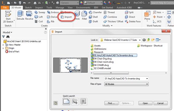 Importing an AutoCAD LT DWG File as an AnyCAD Underlay into Inventor LT