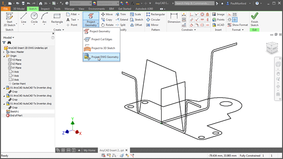 Projecting a 2D DWG Underlay in Autodesk Inventor