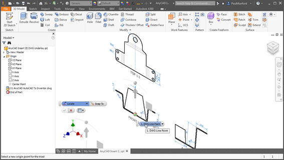 Translating a 2D DWG underlay in Autodesk Inventor