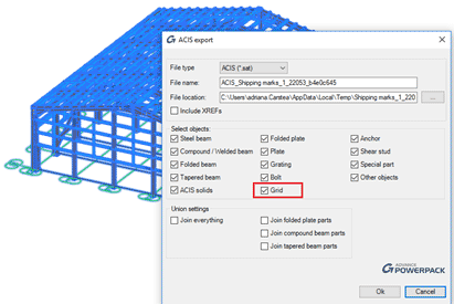 Export model to ACIS Grids