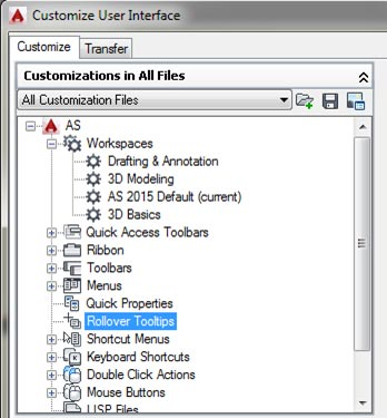 rollover tollkit advance steel autodesk autocad customise user interface